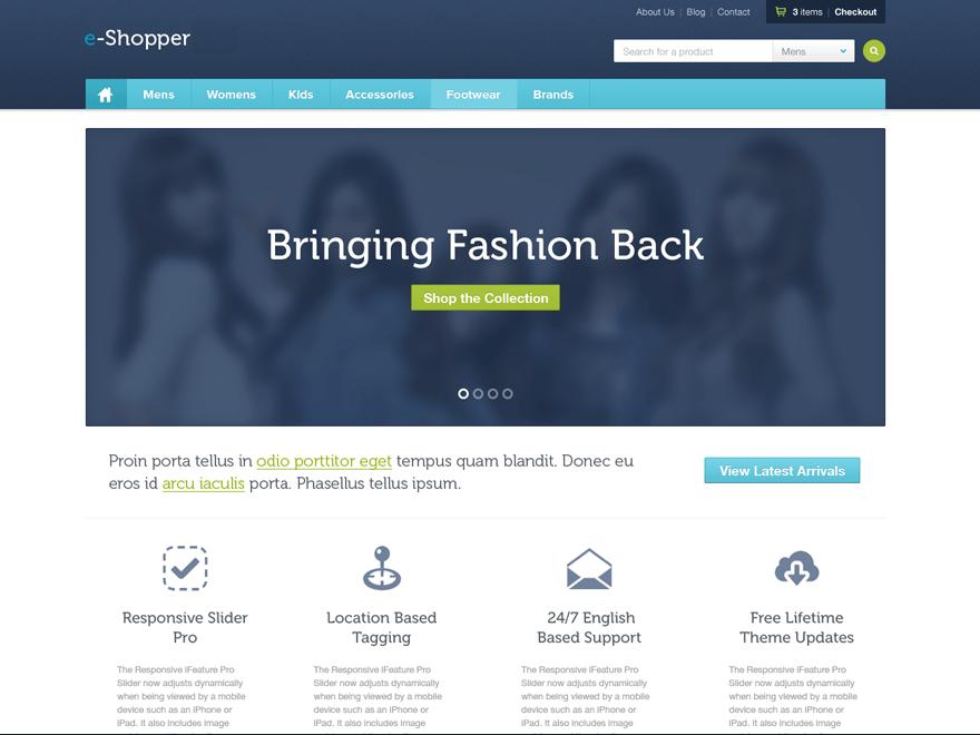 e-Shopper free wordpress theme