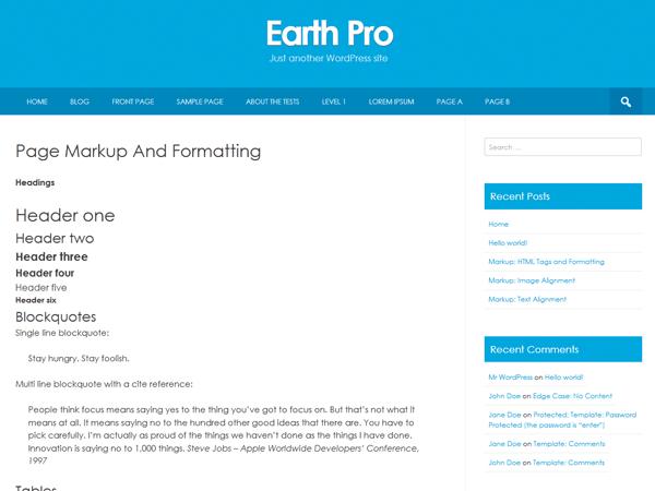 Earth Pro theme wordpress gratuit