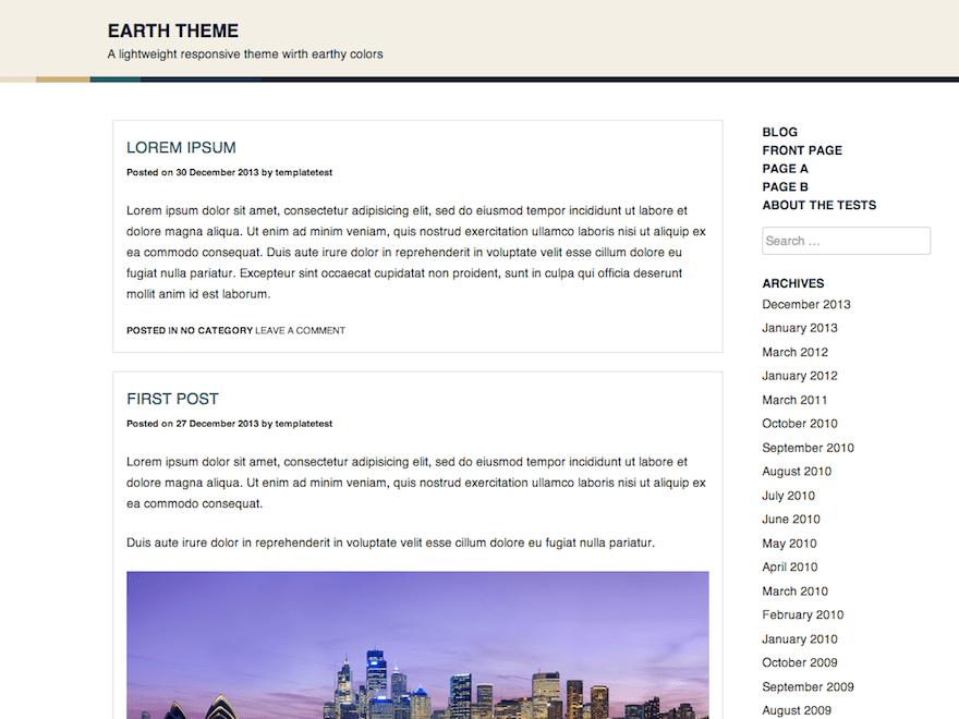 Earth free wordpress theme