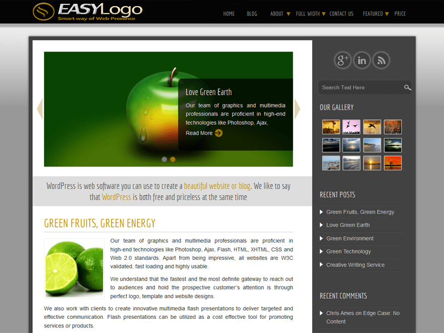 Easy free wordpress theme