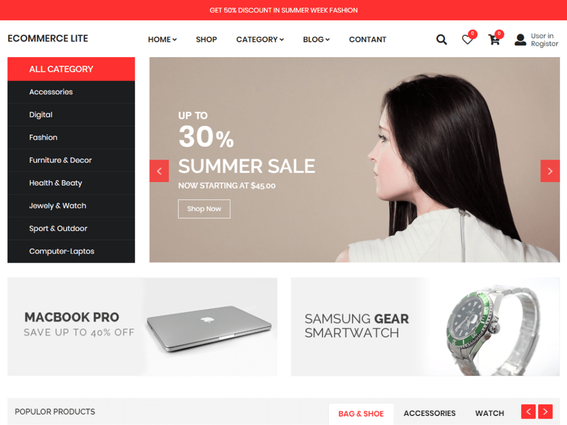eCommerce Lite Theme Free Download