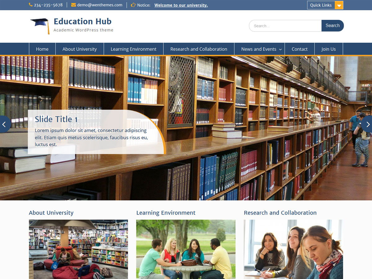 Education Hub free wordpress theme