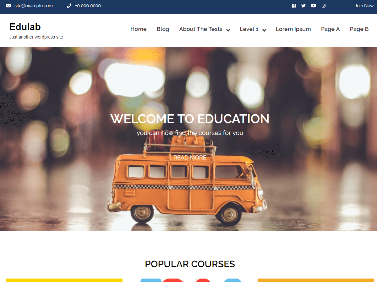 Edulab Education College School Institutions Free WordPress Theme