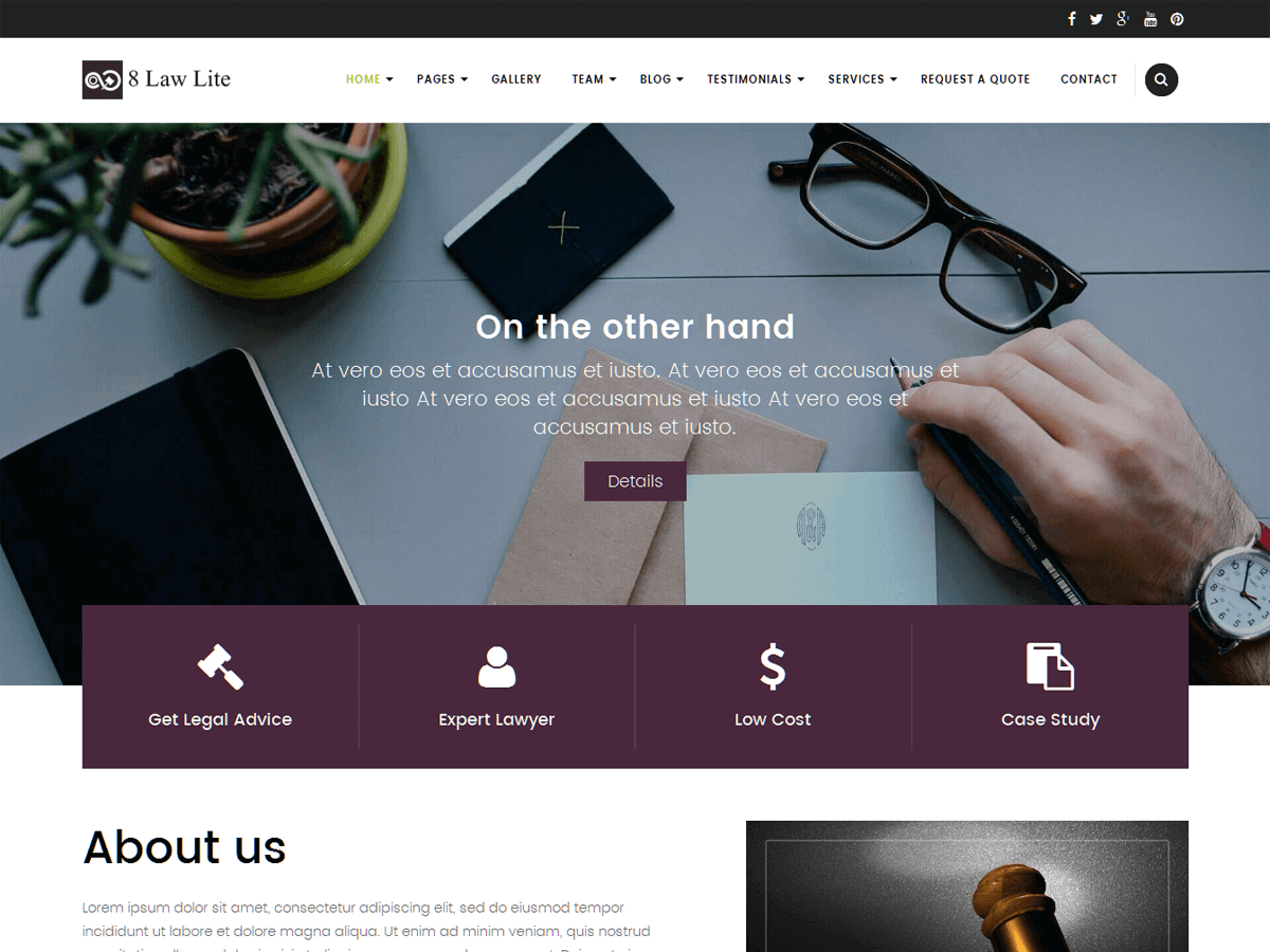 EightLaw Lite free wordpress theme