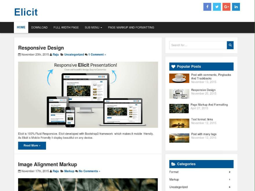 Elicit — Tema WordPress Gratis