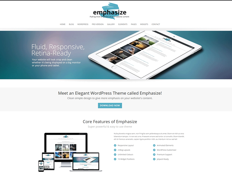Emphasize wordpress theme