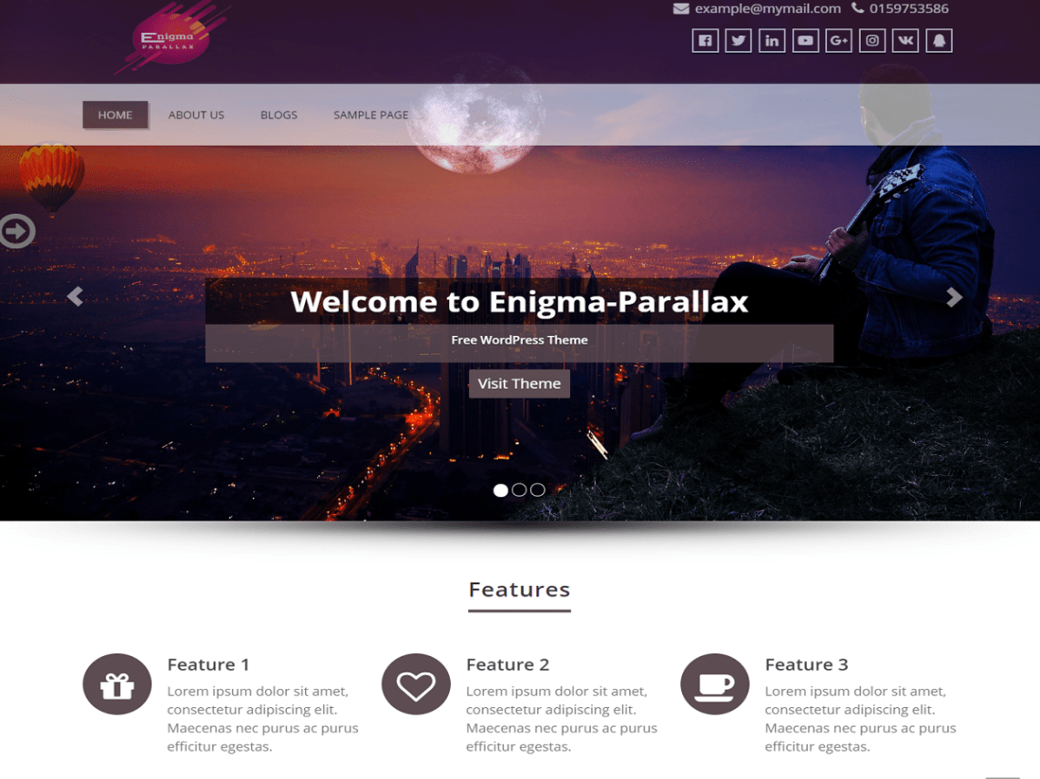 enigma parallax is a feature loaded user friendly fully responsive parallax modern wordpress theme built with care and is loaded with seo optimized code