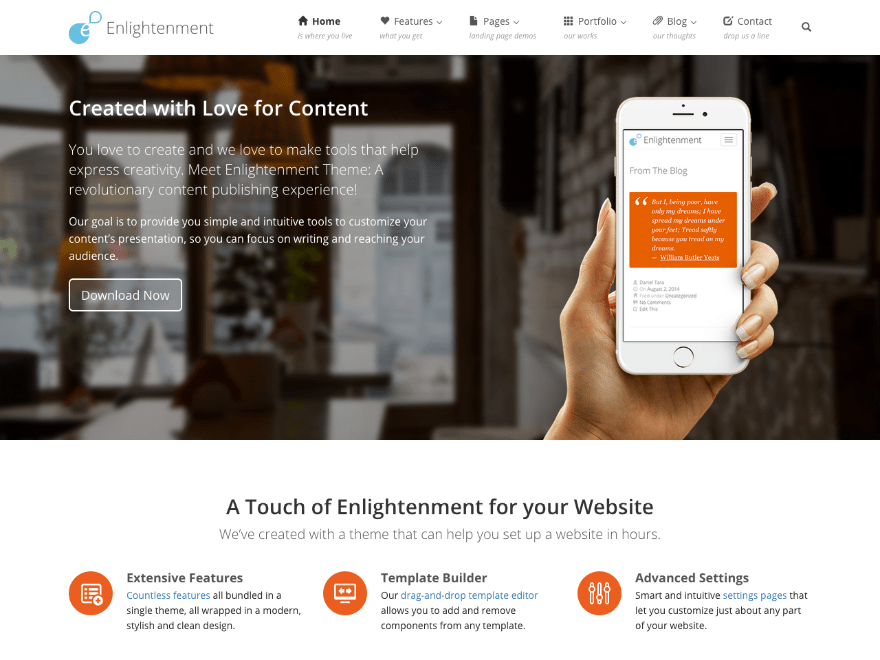 Enlightenment free wordpress theme
