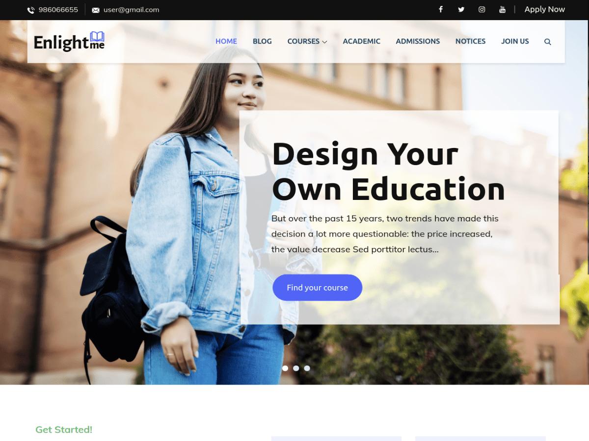 Enlightme Education Free Wordpress Theme Download