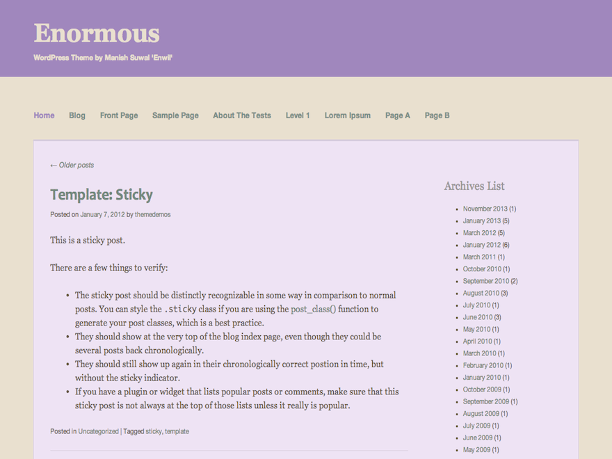 Enormous free wordpress theme