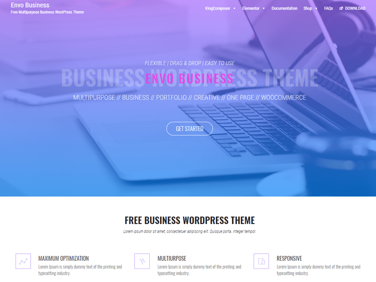 Envo business free wordpress themes altavistaventures