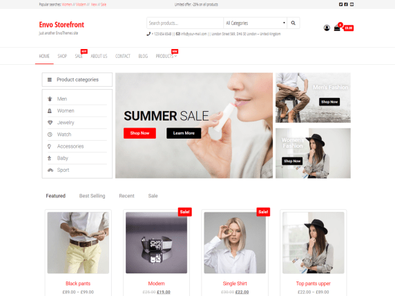 Envo Storefront best free theme for WooCommerce business