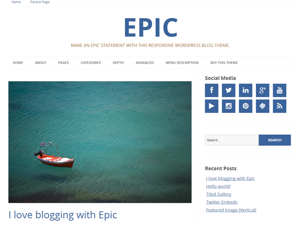 Epic free wordpress theme