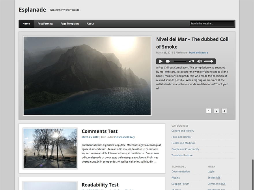 Esplanade free wordpress theme