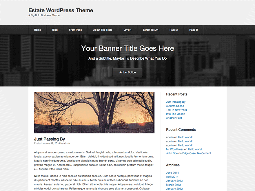 Estate free wordpress theme
