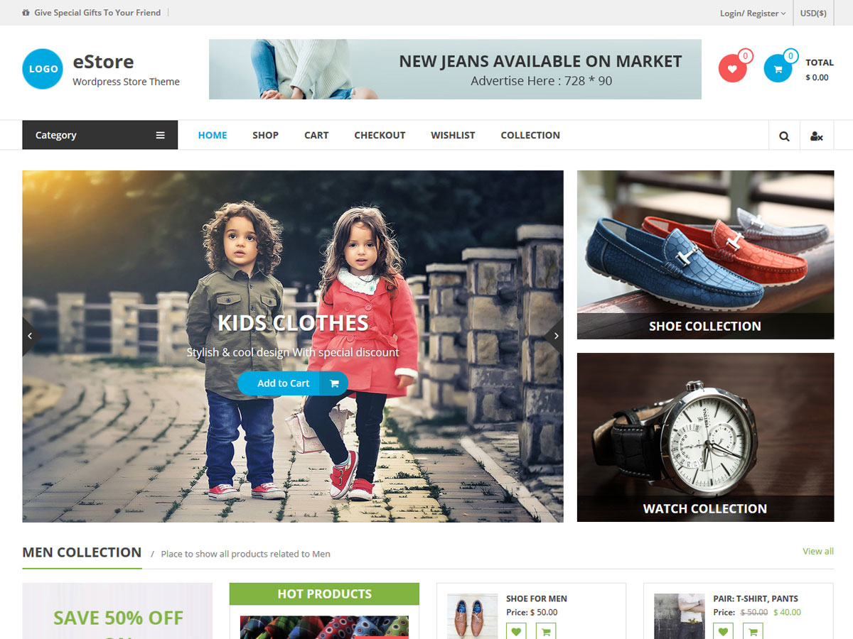 eStore free wordpress theme