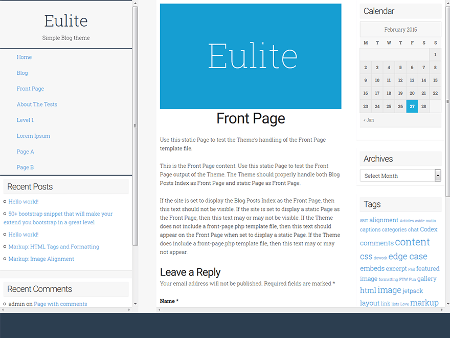 Eulite free wordpress theme
