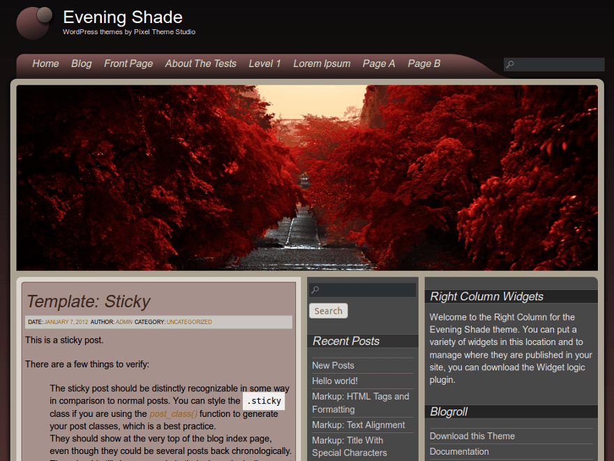 Evening Shade free wordpress theme