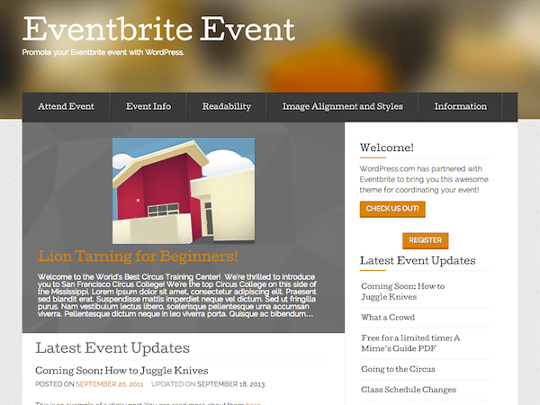 Eventbrite Event free wordpress theme