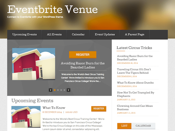 Eventbrite Venue theme wordpress gratuit