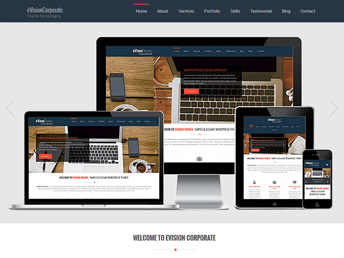 Evision Corporate wordpress theme