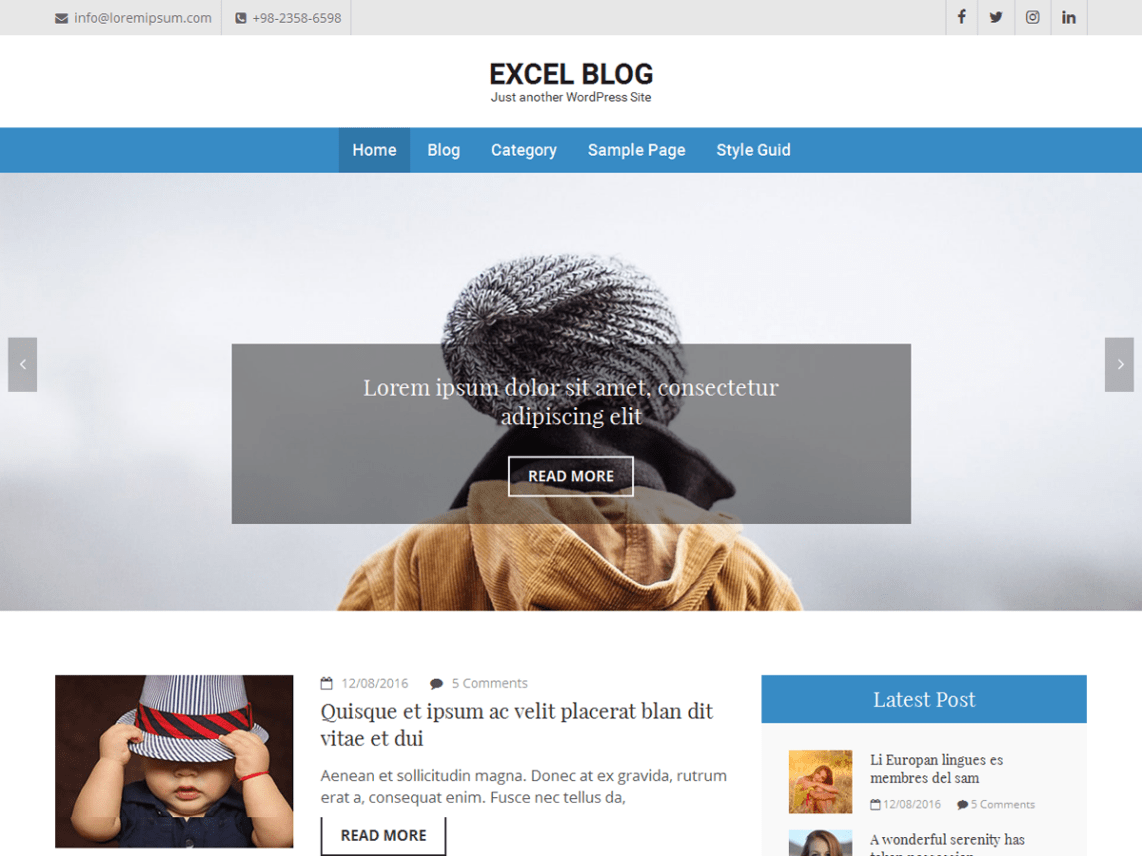 excel blog  u2013 wordpress theme