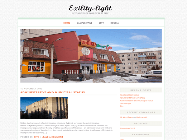 Exility-light free wordpress theme