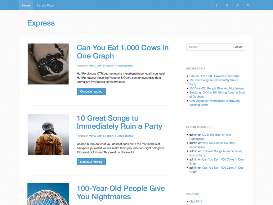 Express free wordpress theme
