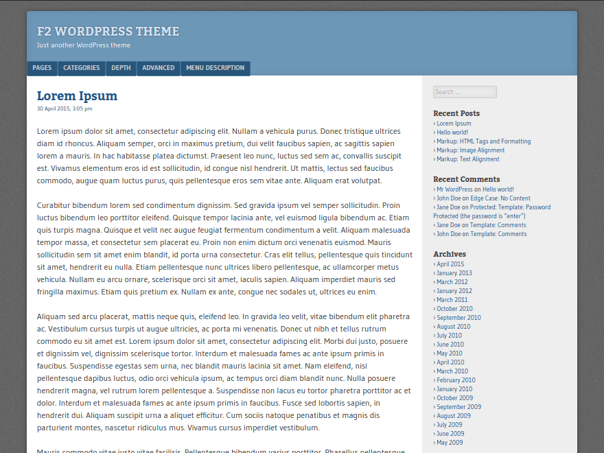 F2 free wordpress theme