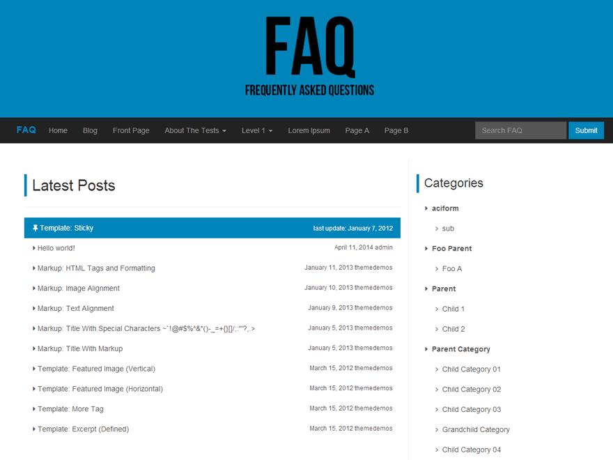 FAQ free wordpress theme