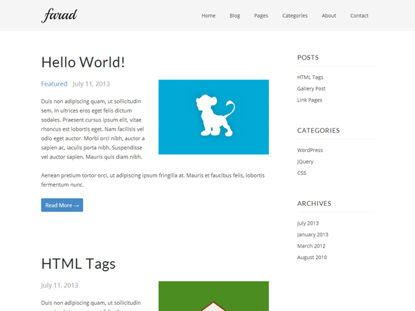 Farad free wordpress theme