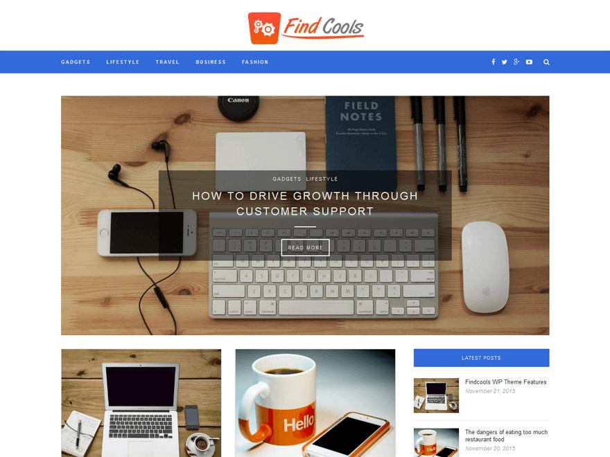 Findcools free wordpress theme