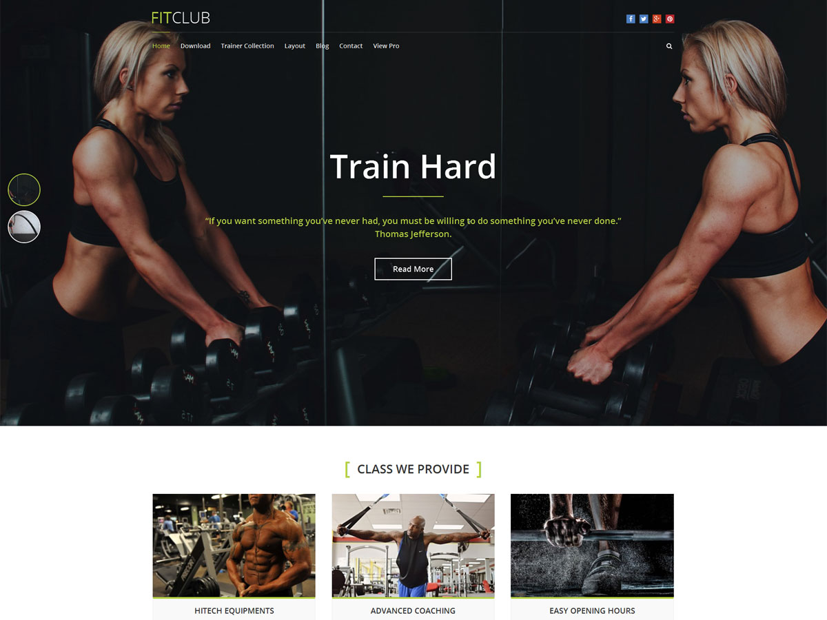 FitClub free wordpress theme