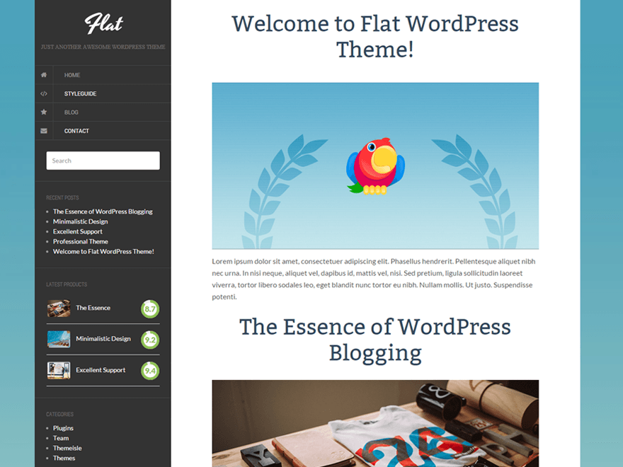 Flat free wordpress theme