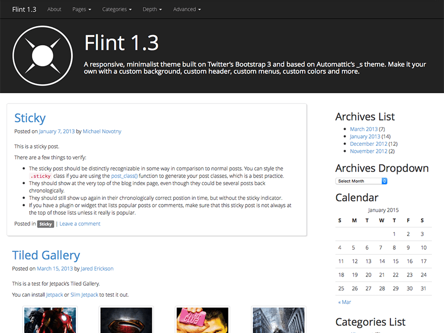 Flint free wordpress theme