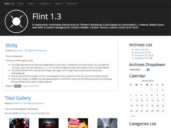 Flint wordpress theme