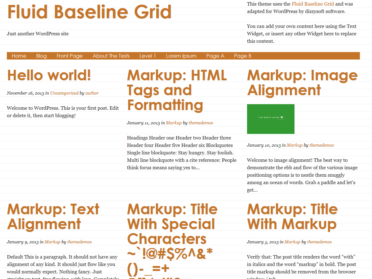 Fluid Baseline Grid free wordpress theme