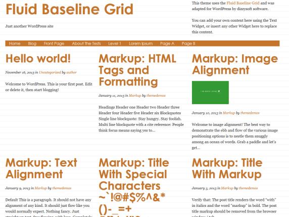 Fluid Baseline Grid wordpress theme