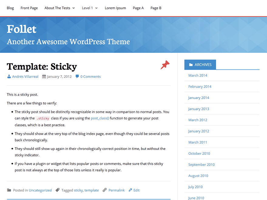 Follet free wordpress theme