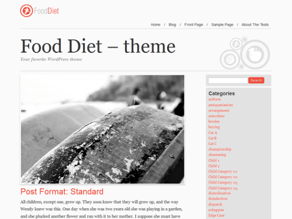 Food and Diet wordpress theme
