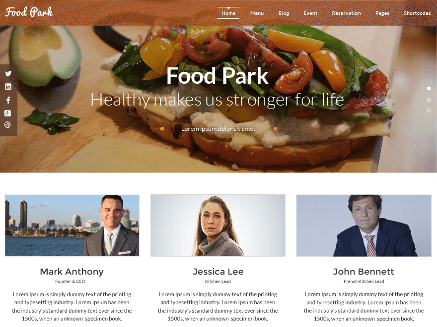 Food Park free wordpress theme