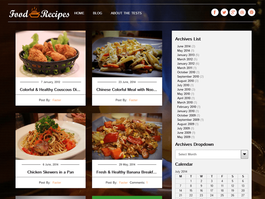 Food Recipes free wordpress theme