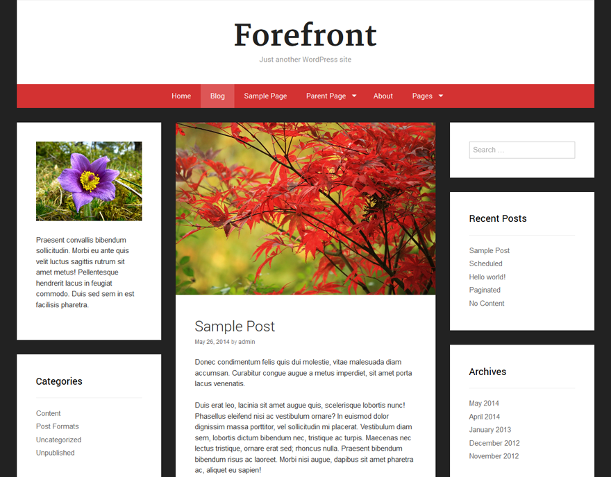 Forefront free wordpress theme