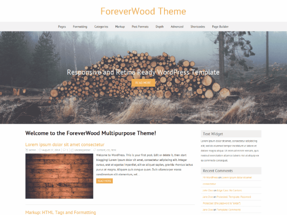 ForeverWood wordpress theme