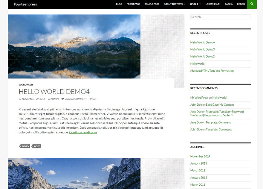 Fourteenpress free wordpress theme