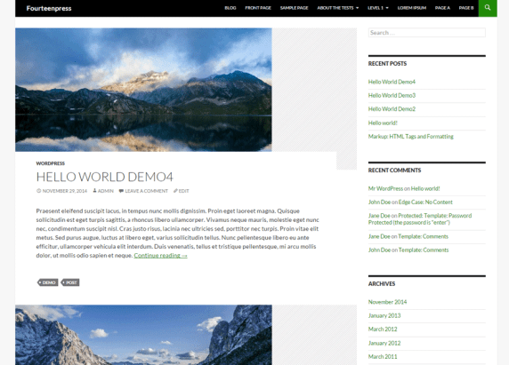 Fourteenpress wordpress theme