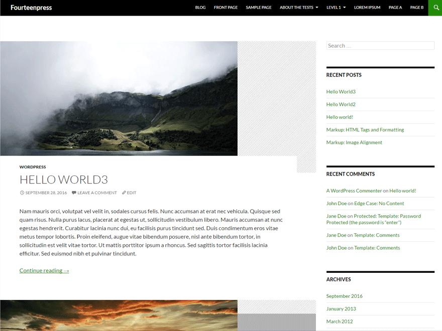 Fourteenpress WordPress theme demo
