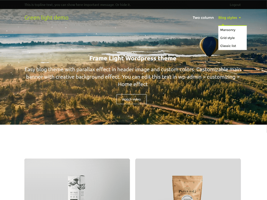 Frame Light free wordpress theme