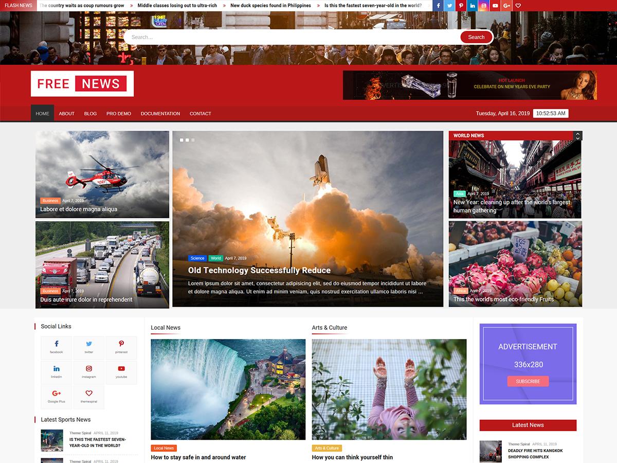 FreeNews : Magazine WordPress Theme