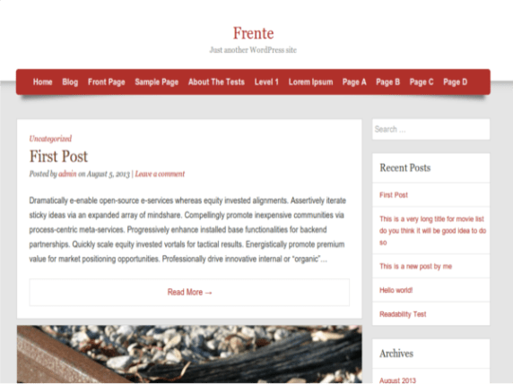 Frente wordpress theme